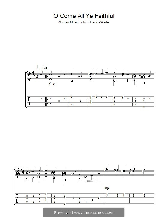 O Come, All Ye Faithful (Printable Scores): Para guitarra com guia by John Francis Wade
