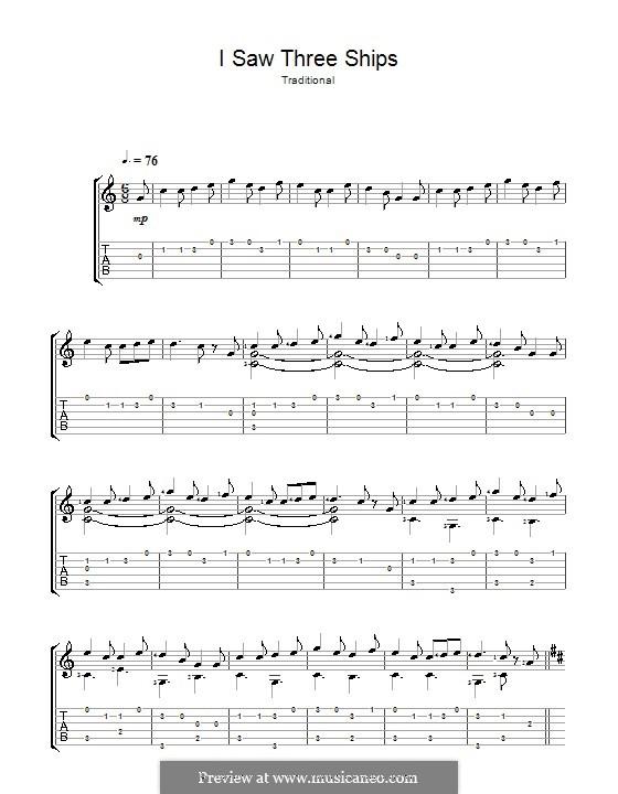 I Saw Three Ships: Para guitarra com guia by folklore