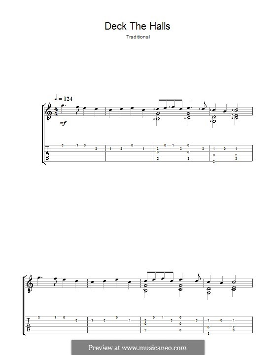 Deck the Hall (Printable): Para Guitarra by folklore