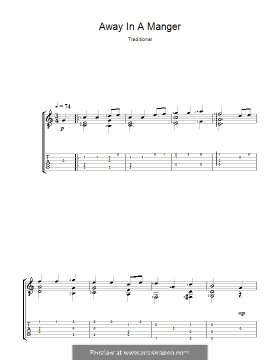 Away in a Manger: For guitar with tab (Acoustic) by William (James) Kirkpatrick