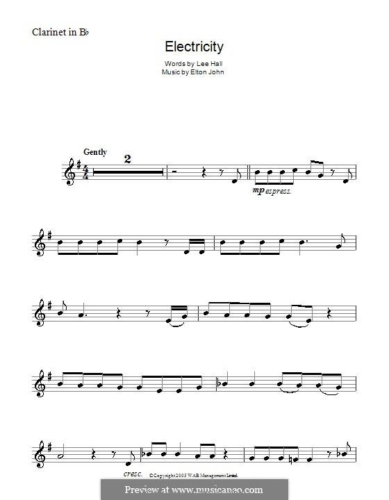 Electricity: para clarinete by Elton John