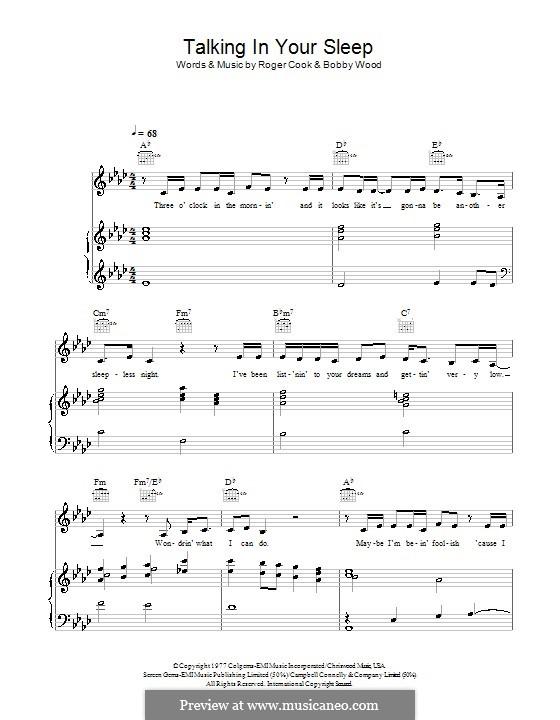 Talkin' in Your Sleep (Crystal Gayle): Para vocais e piano (ou Guitarra) by Bobby Wood, Roger Cook