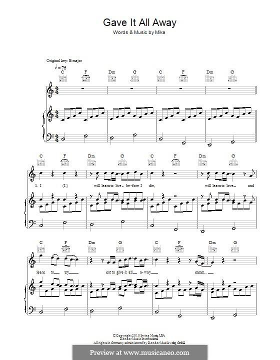 Gave It All Away (Boyzone): Para vocais e piano (ou Guitarra) by Mika