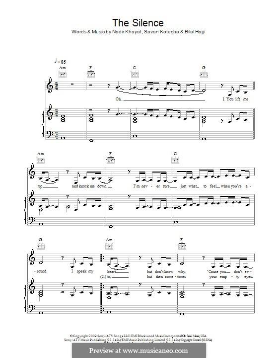 The Silence (Alexandra Burke): Para vocais e piano (ou Guitarra) by RedOne, Bilal Hajji, Savan Kotecha
