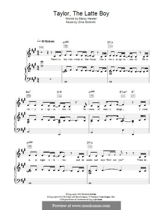 Taylor, the Latte Boy: Para vocais e piano (ou Guitarra) by Zina Goldrich