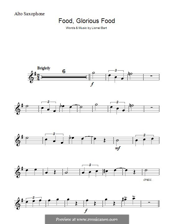 Food, Glorious Food (from Oliver!): para Saxofone Alto by Lionel Bart