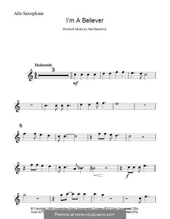 I'm a Believer: para Saxofone Alto by Neil Diamond
