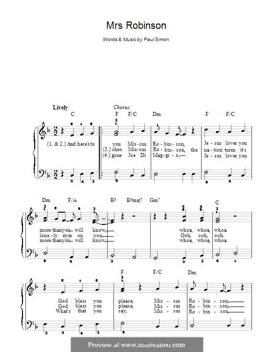 Mrs. Robinson (Simon & Garfunkel): Facil para o piano by Paul Simon