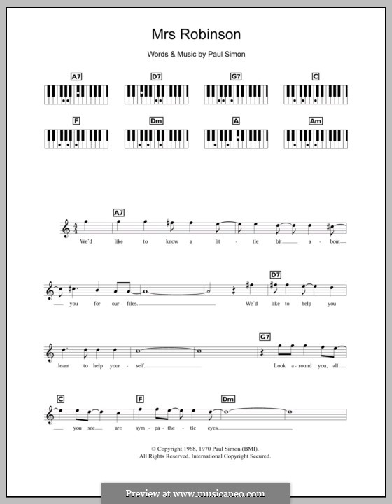 Mrs. Robinson (Simon & Garfunkel): para teclado by Paul Simon