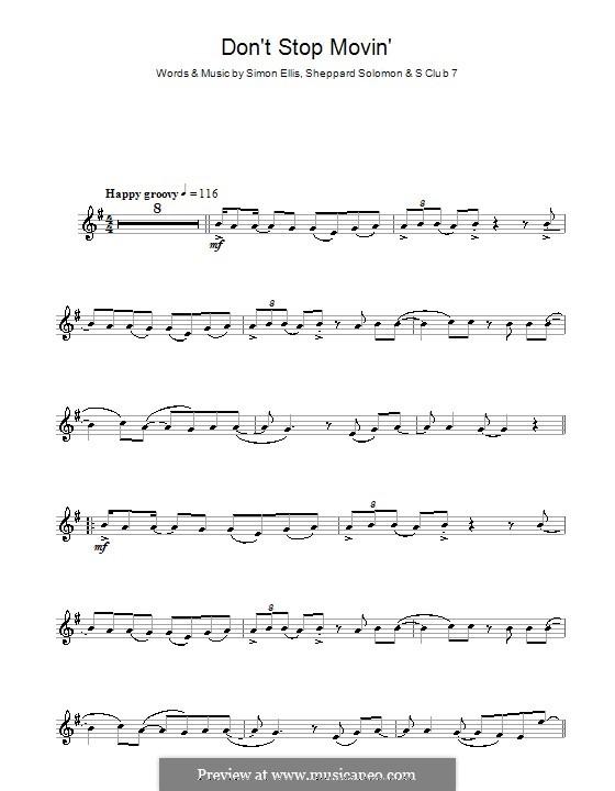 Don't Stop Movin': para Saxofone Alto by S Club 7, Sheppard Solomon, Simon Ellis