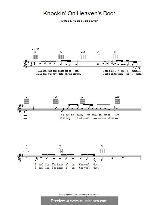 Knockin' on Heaven's Door: melodía,letras e acordes by Bob Dylan