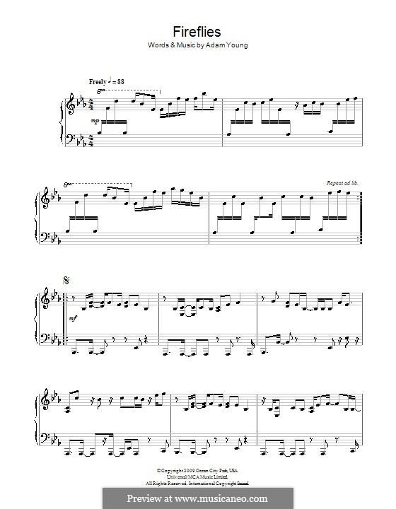 Fireflies (Owl City): Para Piano by Adam Young