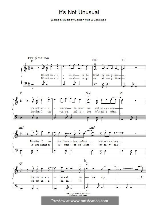 It's not Unusual (Tom Jones): Facil para o piano by Gordon Mills, Les Reed