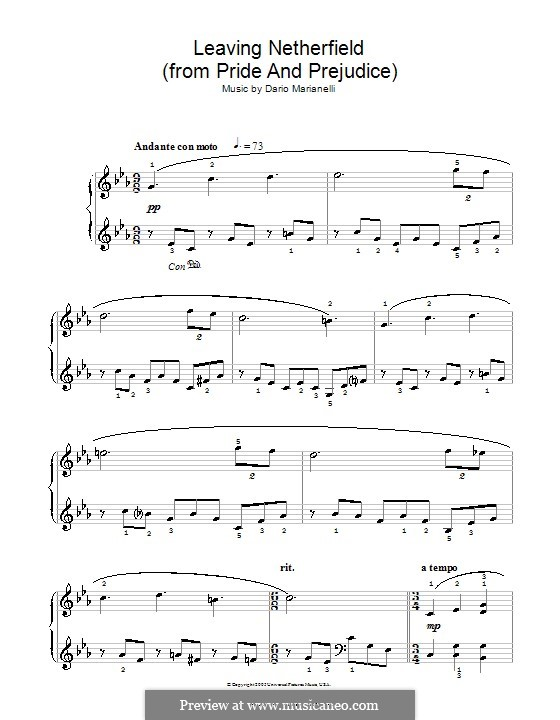 Leaving Netherfield: Facil para o piano by Dario Marianelli