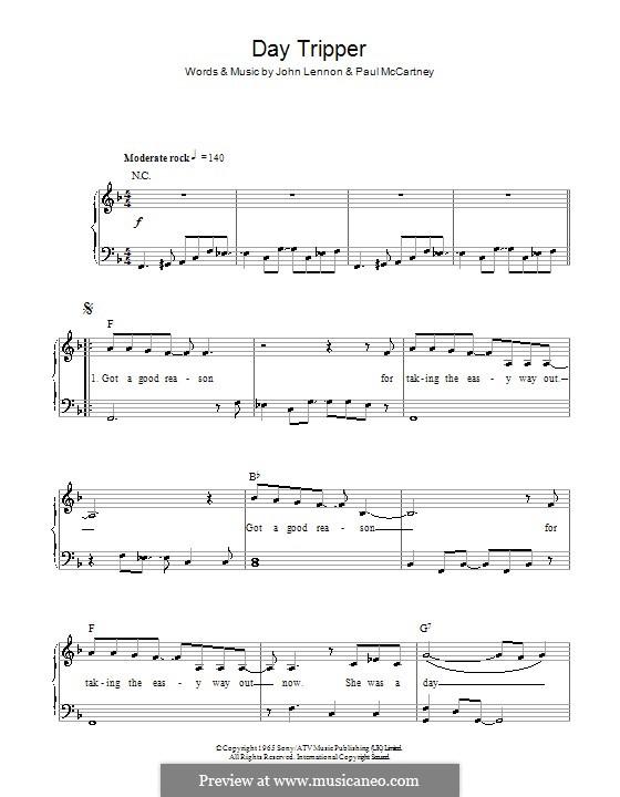 Day Tripper (The Beatles): Facil para o piano by John Lennon, Paul McCartney