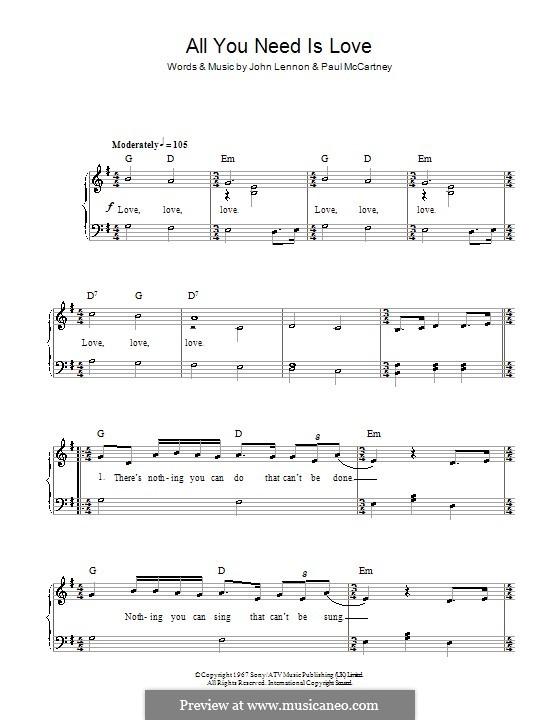 All You Need Is Love (The Beatles): Facil para o piano by John Lennon, Paul McCartney