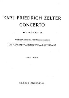 Concerto for Viola and Orchestra: Arranjo para viola e piano by Carl Friedrich Zelter