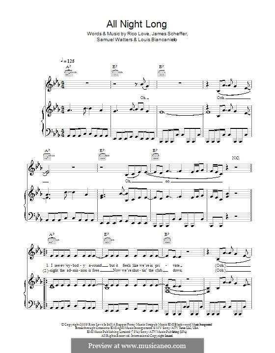 All Night Long (Alexandra Burke): Para vocais e piano (ou Guitarra) by James Scheffer, Louis Biancaniello, Rico Love, Samuel Watters