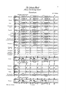 Si j'étais roi (If I Were King): Ouverture (with piano reduction) by Adolphe Adam