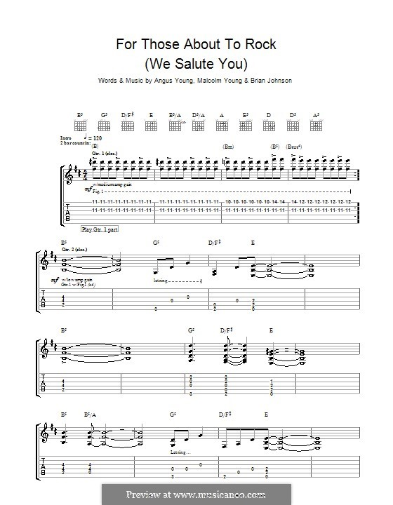 For Those About to Rock (We Salute You): For guitar with tab (AC/DC) by Angus Young, Brian Johnson, Malcolm Young