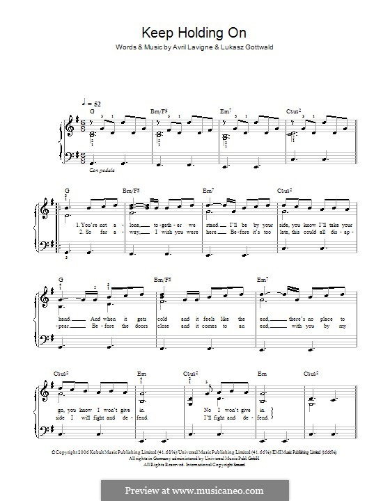 Keep Holding On: Facil para o piano by Avril Lavigne, Lukas Gottwald