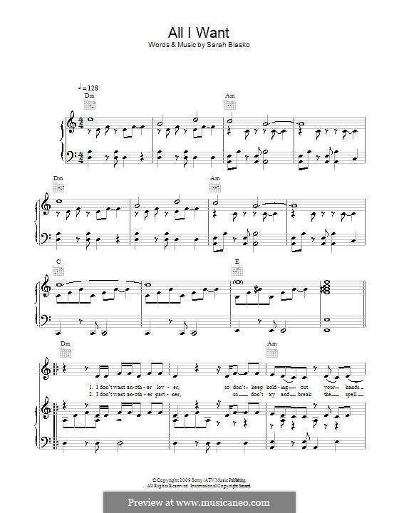 All I Want: Para vocais e piano (ou Guitarra) by Sarah Blasko
