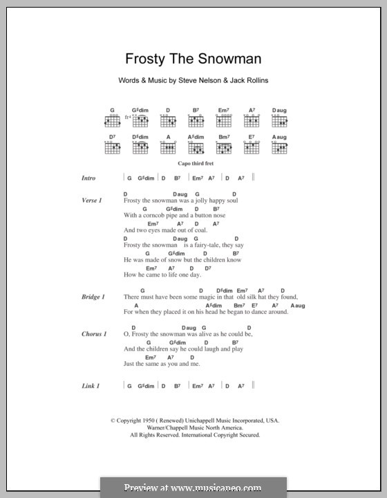 Frosty the Snow Man: Lyrics and chords (The Ronettes) by Jack Rollins, Steve Nelson