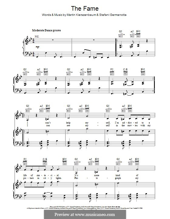 The Fame (Lady Gaga): Para vocais e piano (ou Guitarra) by Martin Kierszenbaum, Stefani Germanotta