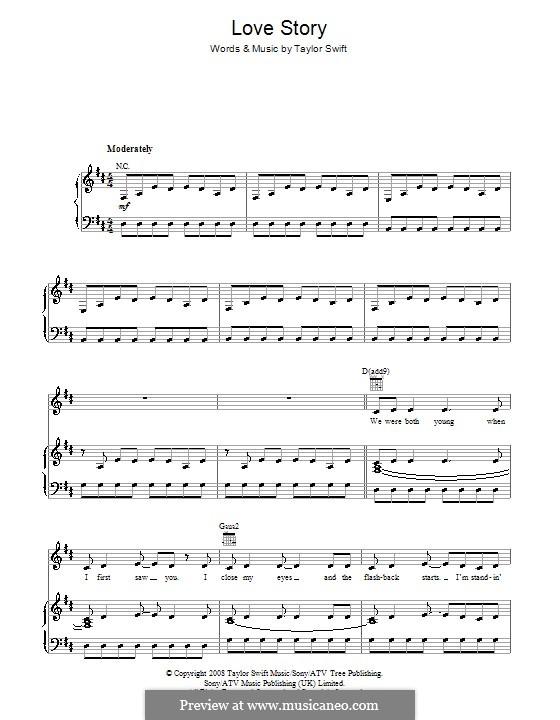 Love Story: Para vocais e piano (ou Guitarra) by Taylor Swift