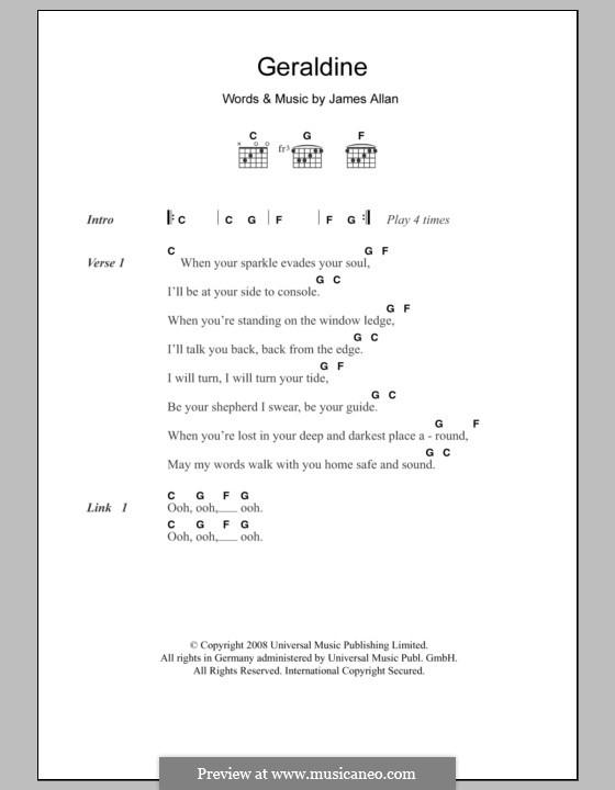 Geraldine (Glasvegas): Letras e Acordes by James Allan