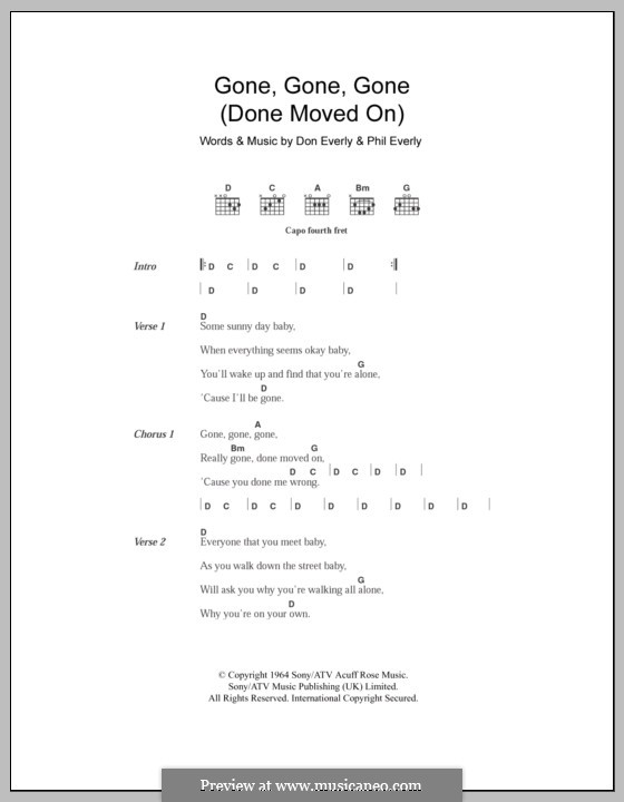 Gone, Gone, Gone (Done Moved On): Letras e Acordes by Don Everly, Phil Everly