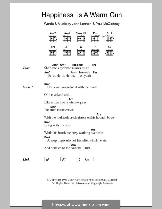 Happiness is a Warm Gun (The Beatles): Letras e Acordes by John Lennon, Paul McCartney
