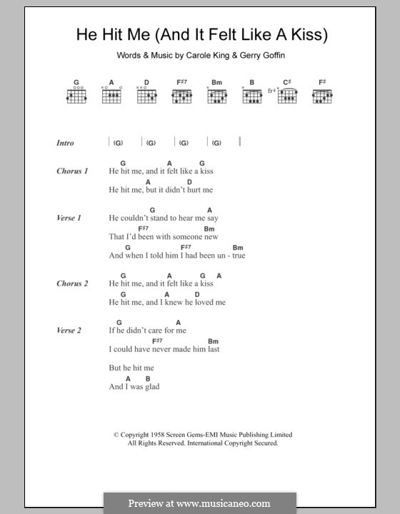 He Hit Me (And It Felt Like a Kiss): Lyrics and chords (The Crystals) by Carole King, Gerry Goffin