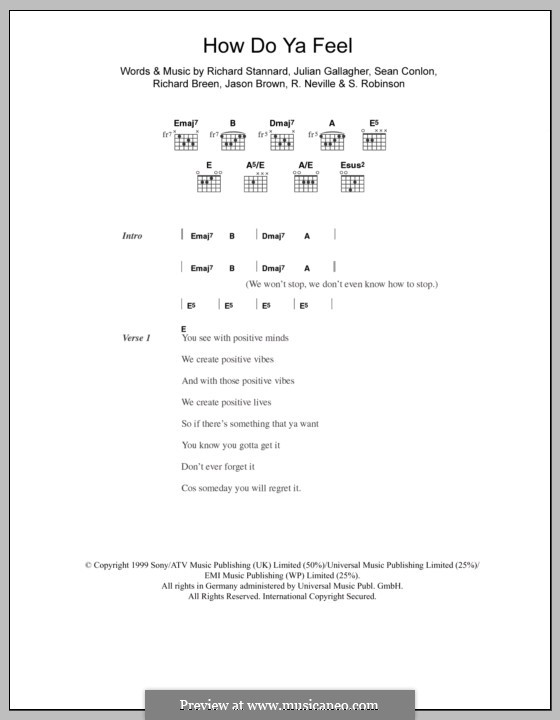 How Do Ya Feel (Five): Letras e Acordes by Jason Brown, Julian Gallagher, Richard Neville, Richard Breen, Richard Stannard, S. Robinson, Sean Conlon