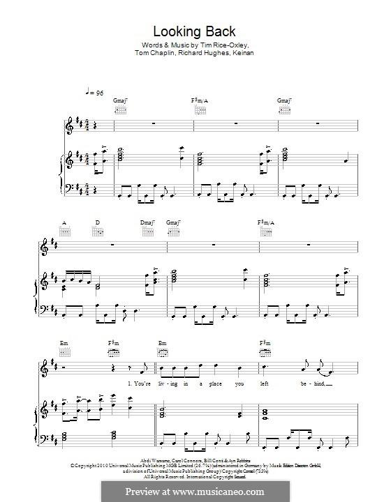 Looking Back (Keane): Para vocais e piano (ou Guitarra) by Ayn Robbins, Bill Conti, Carol Connors, Keinan Abdi Warsame, Richard Hughes, Tim Rice-Oxley, Tom Chaplin