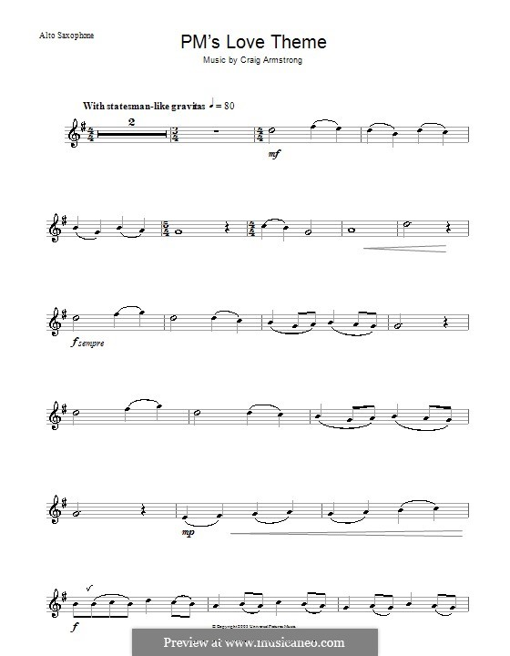 P.M.'s Love Theme (from Love Actually): para Saxofone Alto by Craig Armstrong