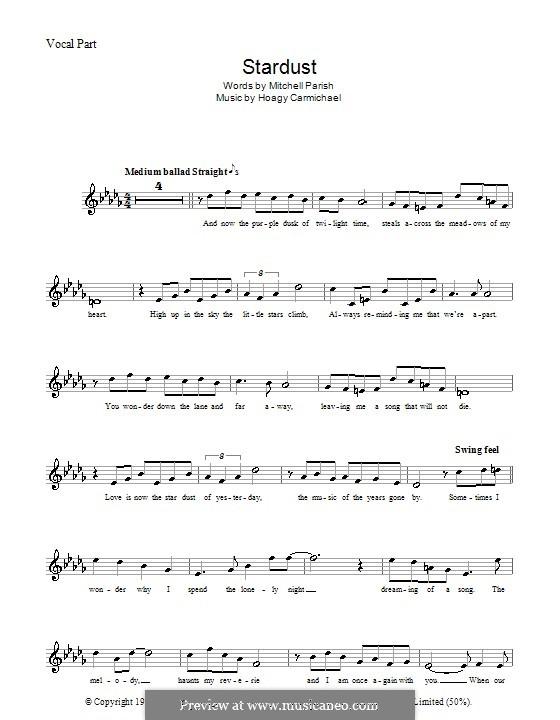 Stardust (Frank Sinatra): melodía,letras e acordes by Hoagy Carmichael