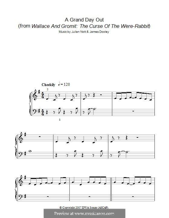 A Grand Day Out (from Wallace and Gromit: The Curse of the Were-Rabbit): Facil para o piano by James Michael Dooley, Julian Nott