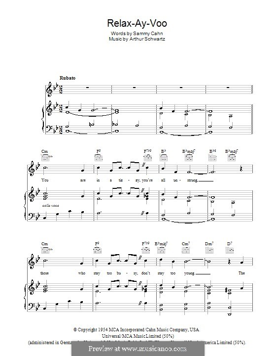 Relax-Ay-Voo (Dean Martin): Para vocais e piano (ou Guitarra) by Arthur Schwartz