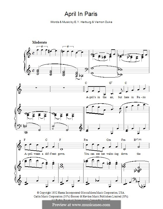 April in Paris: For voice and piano or guitar (Dean Martin) by Vernon Duke