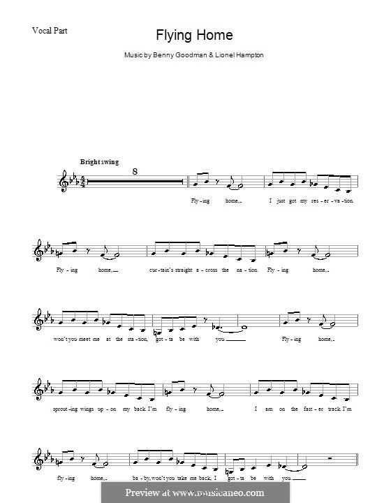 Flying Home: melodía,letras e acordes by Benny Goodman, Lionel Hampton