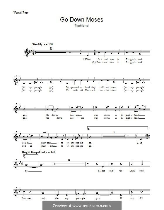 Go Down Moses: melodía,letras e acordes by folklore