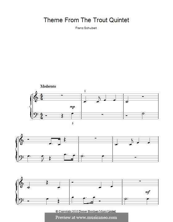 Quintet for Strings and Piano 'The Trout', D.667 Op.114: Movement IV (Theme). Version for piano (high quality sheet music) by Franz Schubert