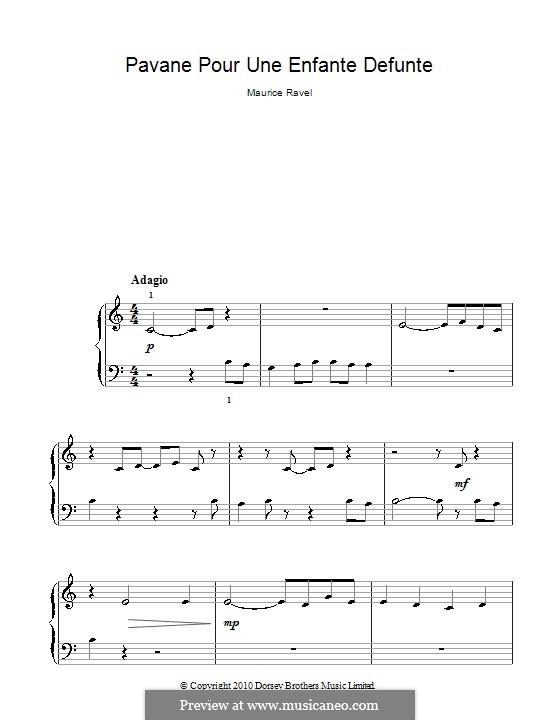 Pavane pour une infante défunte (Pavane for a Dead Princess), M.19: versão muito facil by Maurice Ravel