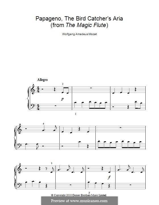 Papageno's Aria: Facil para o piano by Wolfgang Amadeus Mozart