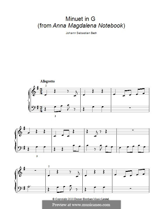 No.4 Minuet in G Major, for Piano: Versão Facil by Johann Sebastian Bach