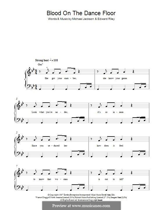 Blood on the Dance Floor: Facil para o piano by Teddy Riley, Michael Jackson