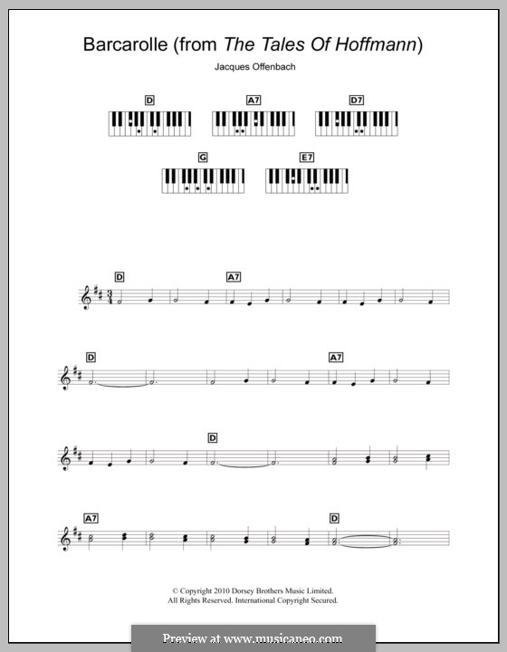 Barcarolle (Printable Scores): Version for keyboard by Jacques Offenbach