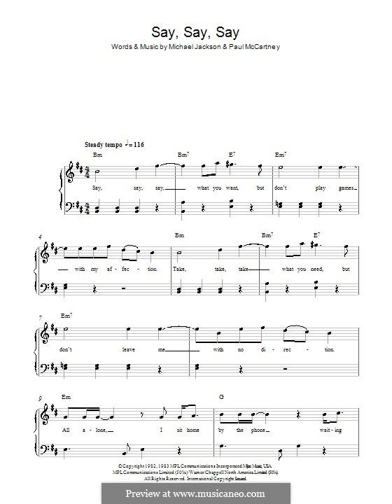 Say Say Say: Facil para o piano by Michael Jackson, Paul McCartney