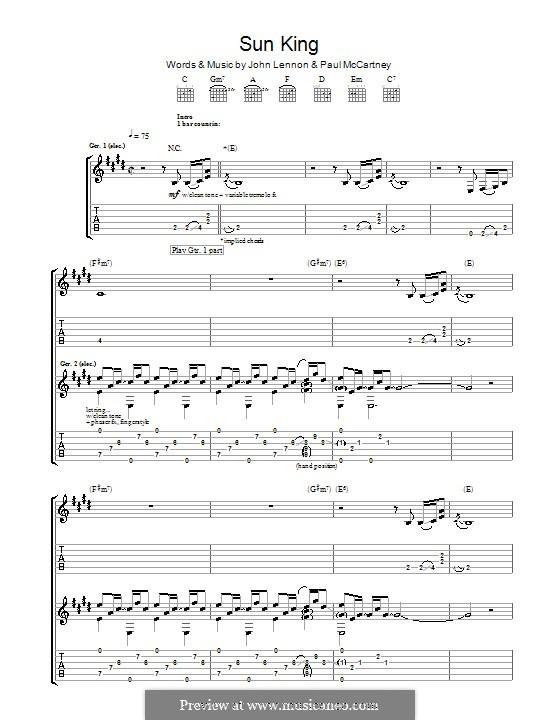 Sun King (The Beatles): Para guitarra com guia by John Lennon, Paul McCartney
